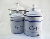 1940 Kitchen Enamel Containers from France