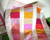SALE! everything must go! baby quilt, pink and yellow, white frame backed with pink fleece.