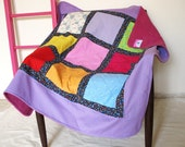 SALE! everything must go! 9 patch baby quilt, crib blanket, backed with soft fleece and lilac border.