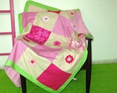 SALE! everything must go! Baby girl quilt, crib blanket, crochet flowers, pink and brown, green frame, fleece back.