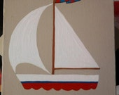 Sailing boat small wall hanging on stone coloured ground box canvas