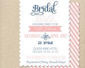 Vintage Scalloped Bridal Shower Invitation Baby Shower Invite Pink & Blue Printable OR Printed Card