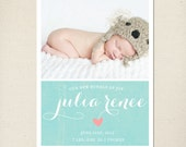 Birth Announcement Baby Announcement  DIY Printable or Printed Card