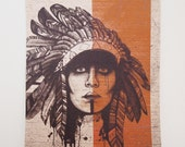 "Native American Print - A3 Headdress Illustration, Orange Warpaint, 16.5"" x 11.7"" Art Print"
