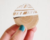 SALE! White Wooden Brooch - Hand Drawn Geometry