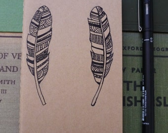 Drawn Feather Moleskine - Hand Drawn, Pocket Size Plain Paper