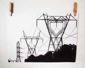 "A3 Print, I Heart your Electricity - 16.5"" x 11.7"" Geek Home Decor"