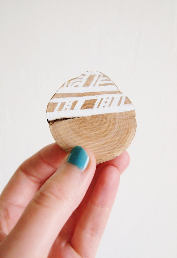 SALE! White Wooden Brooch, Hand Drawn Geometry