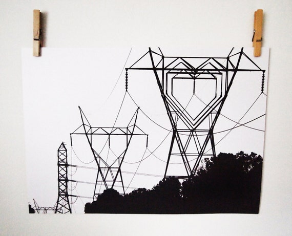 """A3 Print, I Heart your Electricity - 16.5"""" x 11.7"""" Geek Home Decor"""
