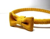 Mustard Head piece- Yellow headband with bow- Leather Suede Wrap band-Everydays or Wedding Headband