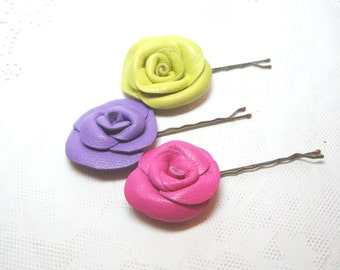 Bobby Pins Flower  Rose  Yellow, Pink, Lavender Set of 3 Free Shipping
