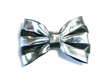 Nautical Striped Bow - White and  Black Leather Shoe Clips, headband, hair clip, comb, brooch pin , striped Necklace-  choose