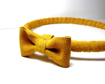 Mustard Head piece- Yellow headband with bow- Leather Suede Wrap band-Everydays or Wedding Headband