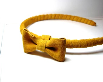Mustard Head piece- Yellow headband with bow- Leather Suede Wrap band-    Everydays or Wedding Headband   Free Worldwide shipping