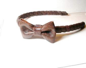 Hairband Leather Wrap  Brown  Headband  with Bow for Everydays or Wedding  Free Worldwide shipping