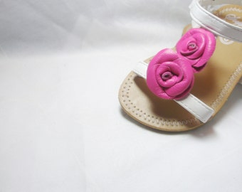 Shoe Clips Bridal Wedding Flower Girl Bridesmaids baby , leather rose girl shoe clips ,flip flop  shoes accessories