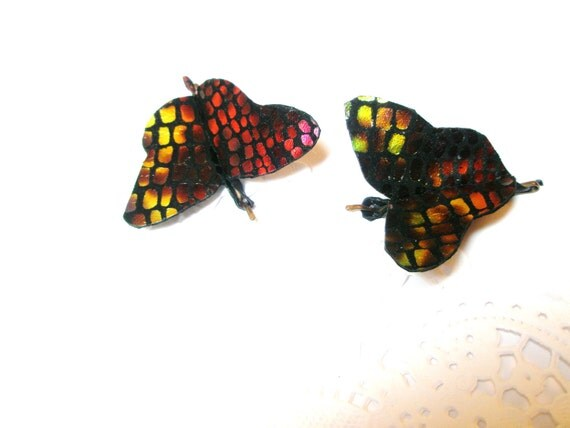 Bobby Pins Butterfly  Unique  Snake Print Leather   Set of 2 Free Shipping