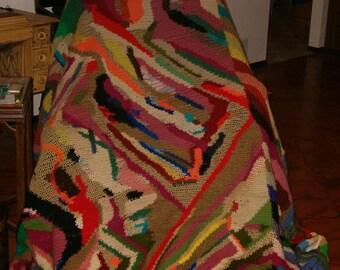 Crocheted Large Wandering Stripes Afghan