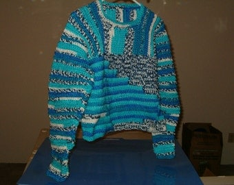Crocheted Wandering Stripes Ribbed Yoke Sweater