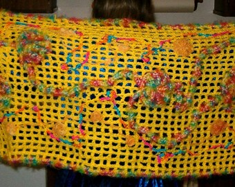 Crocheted Yellow Fiesta Shawl