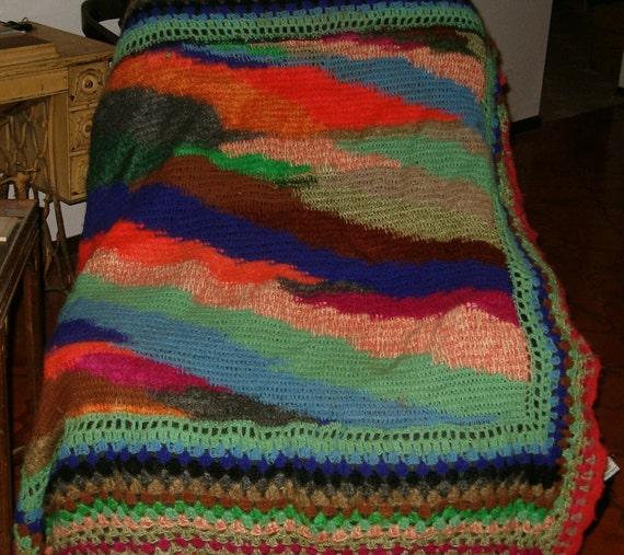Crocheted Vintage 1973 Wandering Stripes Afghan Stitch Throw
