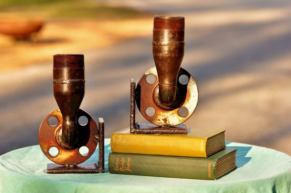 Industrial Steampunk Book Ends Large Bell - Steam Pipe Book Ends