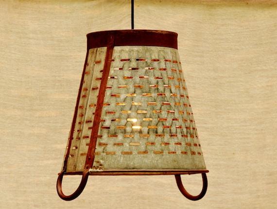 Hanging Light - Industrial Pendant Light - Vintage Metal Olive Basket from Italy
