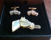 Rare Vintage Mother of Pearl Horse Cufflink Set
