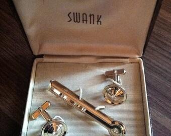 Swank Vintage Golden Disk with Rhinestone Cufflinks