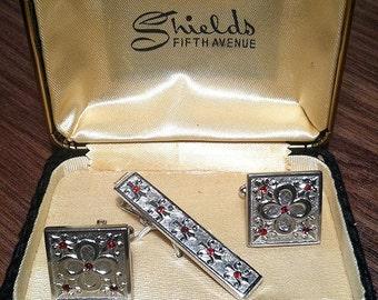 Original Vintage Anson SIlver-filled Red rhinestone Cufflink Set