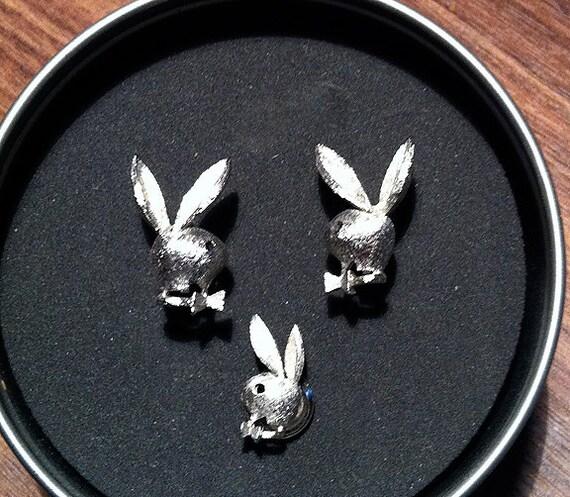 Original Vintage Playboy Bunny Cufflink Set -- RARE