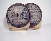 Globe Bookends, pair of world globes with longitude and latitude lines, bookends or art...whose to say