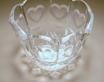 Glass Bowl with Hearts