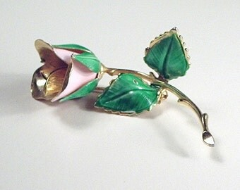 Long stemmed pink rose brooch by Giovanni, a rose that will last a lifetime