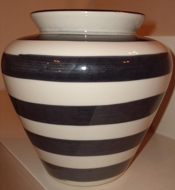 Large Ceramic Vase, blue stripes