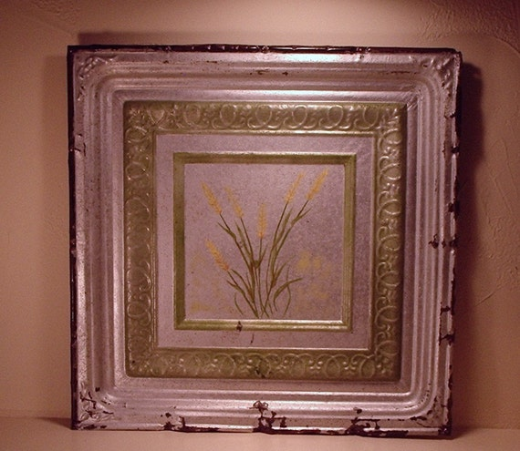 """Antique Hand Painted Tin Ceiling Tile - Sea Oats - 24"""" x 24"""""""