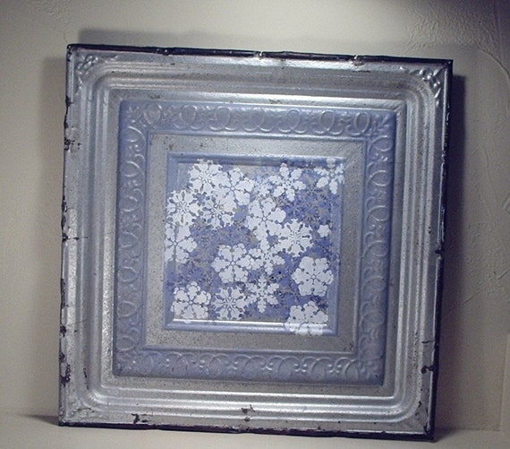 "Antique Tin Ceiling Tile - Handpainted Layers of Snowflakes - 24"" x 24"""