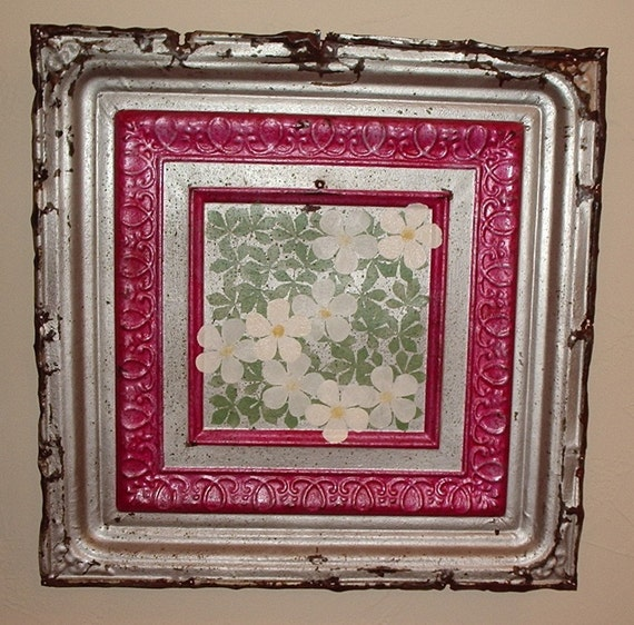 Antique Hand Painted Tin Ceiling Tile White Flowers Red