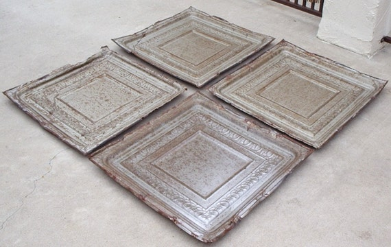 """Jeanne's Custom Listing...Antique Tin Ceiling Tiles, set of 4, very large at 24"""" by 24"""""""
