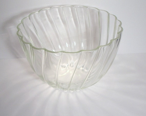 Glass Punch Bowl, large bowl with swirl pattern, great for punch, chips, or salad