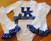 Variety of Teams Available. University of Kentucky Ribbon bodysuit/infant one piece or Shirt WITH Legwarmers