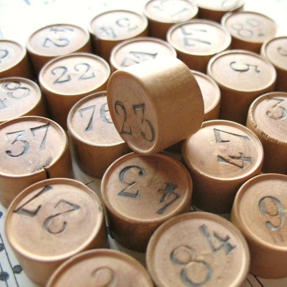 Antique Vintage Wooden Gaming Numbers c1920 x 5 Pieces