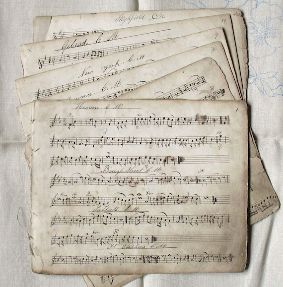 Six Antique Handwritten Music Sheets From 1861 - For Collage Scrapbooking Altered Art