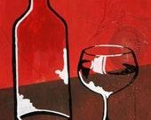 Wine Glass & Bottle on Wood