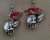 Arkansas Razorback  Earrings - WOOO PIG SOOIE