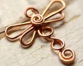 Copper Dragonfly Wirework - Small Dragonflies - Handmade Connector, Charm, or Pendant,  Solid Copper Wire