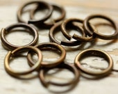"10 Large Solid Brass Jump Rings 16g 1/4"" ID (7mm), 10mm OD, Hand Antiqued Saw Cut Oxidized Brass Wire, Findings"