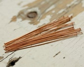 """2"""" Solid Copper 24g Headpins Rounded Flat 1.5mm Heads - 20 pieces Shiny Copper Head Pin, Findings"""