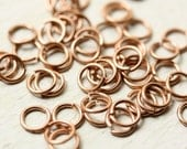 """20g Solid Copper 6 mm Jump Rings Saw Cut Open, 5/32"""" ID Unsoldered  - 50 pc jumpring 6mm, Findings"""