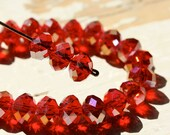 Light Red Crystal AB Chinese Rondelle Beads 8mm Faceted Rondel Cherry 30pcs